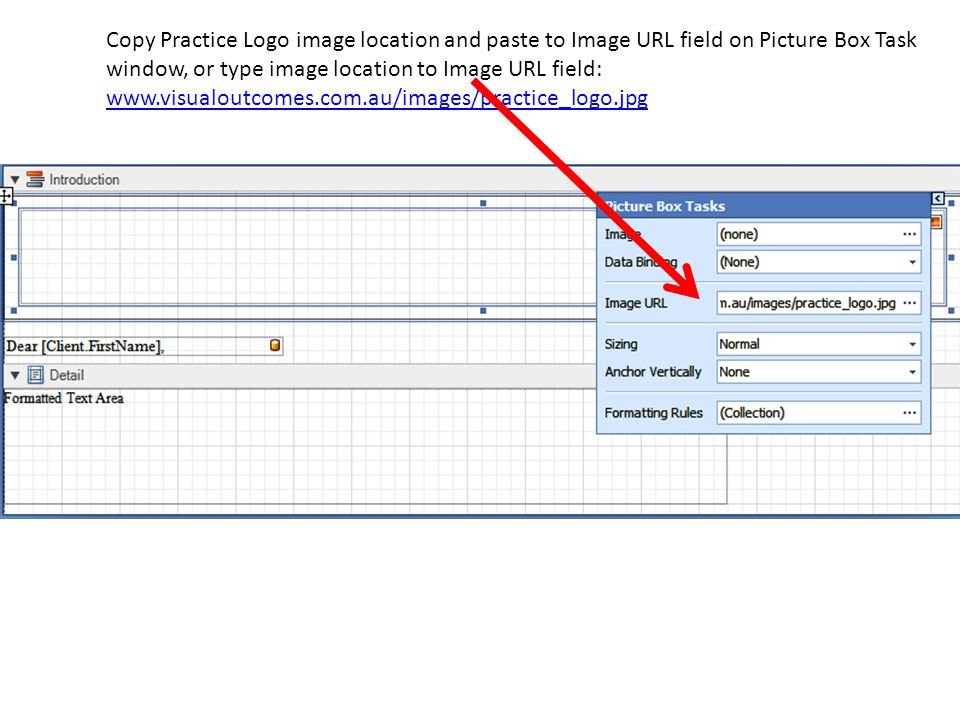 Copy Practice Logo image location and paste to Image URL field on Picture Box Task window, or type image location to Image URL field: www.visualoutcomes.com.au/images/practice_logo.jpg www.visualoutcomes.com.au/images/practice_logo.jpg