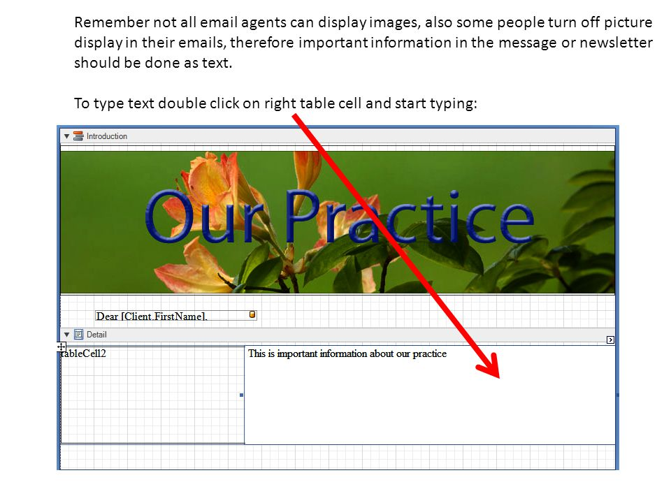 Remember not all email agents can display images, also some people turn off picture display in their emails, therefore important information in the message or newsletter should be done as text.