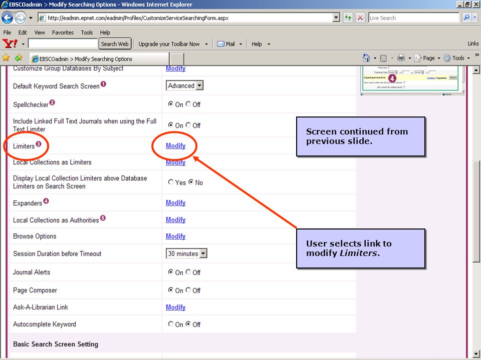 8 Screen continued from previous slide. User selects link to modify Limiters.