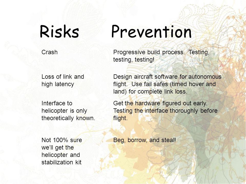 Risks Crash Prevention Progressive build process. Testing, testing, testing.