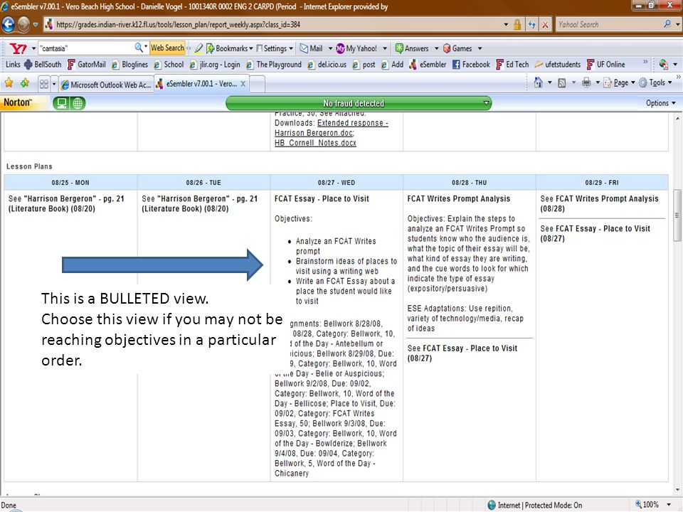 This is a NUMBERED view. Choose this view if you are sequencing your objectives/activities.