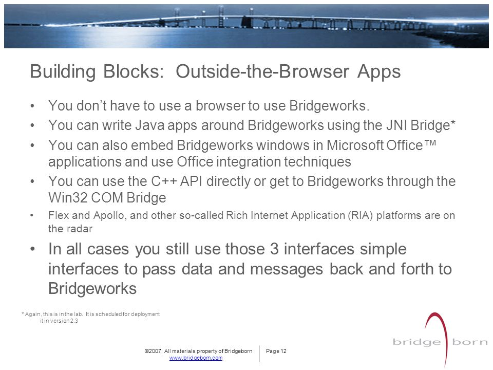 ©2007; All materials property of Bridgeborn Page 12 www.bridgeborn.com Building Blocks: Outside-the-Browser Apps You don't have to use a browser to use Bridgeworks.