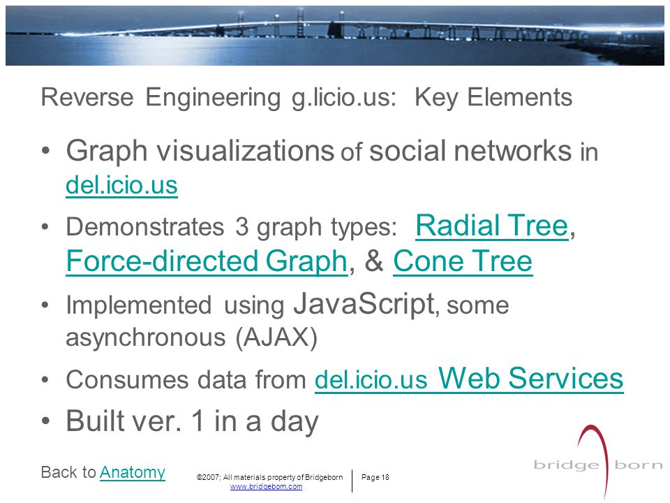©2007; All materials property of Bridgeborn Page 18 www.bridgeborn.com Graph visualizations of social networks in del.icio.us del.icio.us Demonstrates 3 graph types: Radial Tree, Force-directed Graph, & Cone Tree Radial Tree Force-directed GraphCone Tree Implemented using JavaScript, some asynchronous (AJAX) Consumes data from del.icio.us Web Servicesdel.icio.us Web Services Built ver.