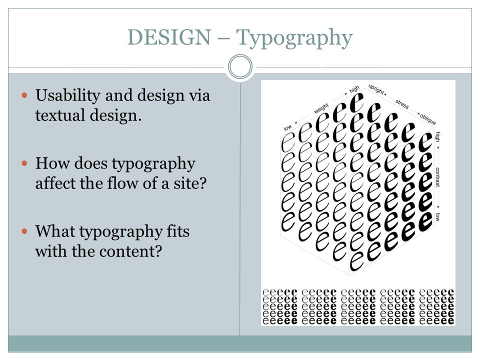 DESIGN – Typography Usability and design via textual design.