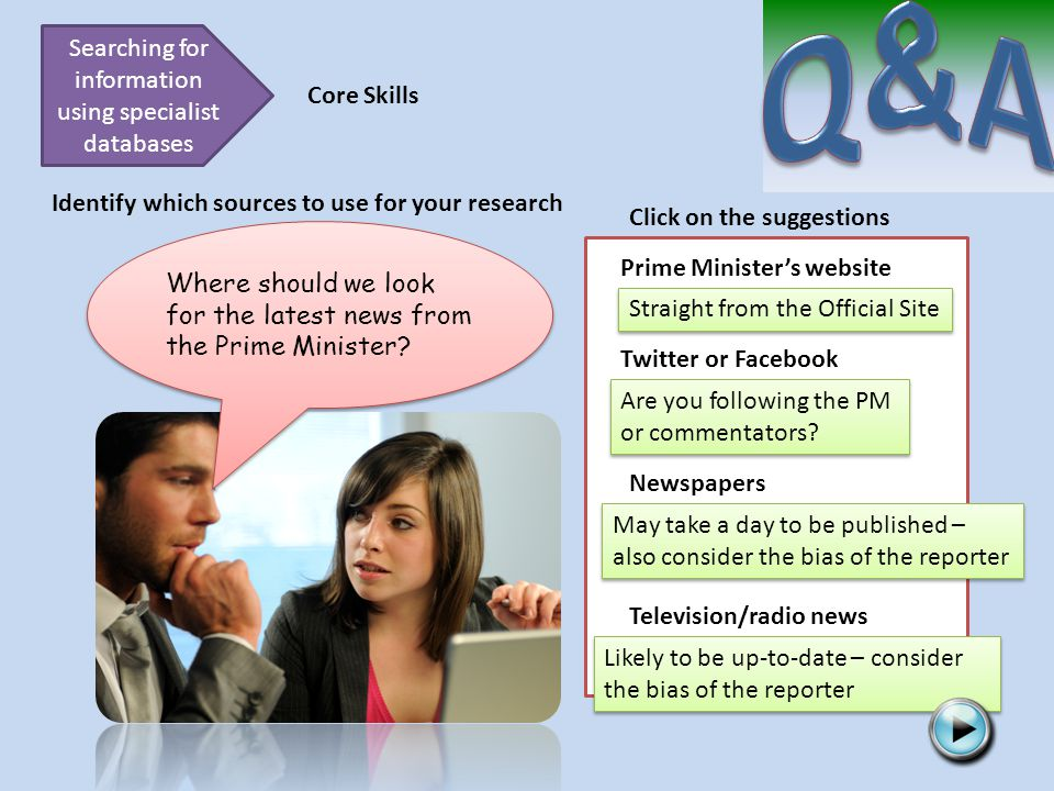 Searching for information using specialist databases Core Skills Identify which sources to use for your research Where should we look for the latest news from the Prime Minister.