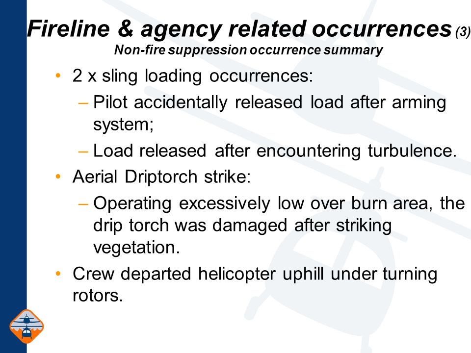 Fireline & agency related occurrences (3) Non-fire suppression occurrence summary 2 x sling loading occurrences: –Pilot accidentally released load after arming system; –Load released after encountering turbulence.