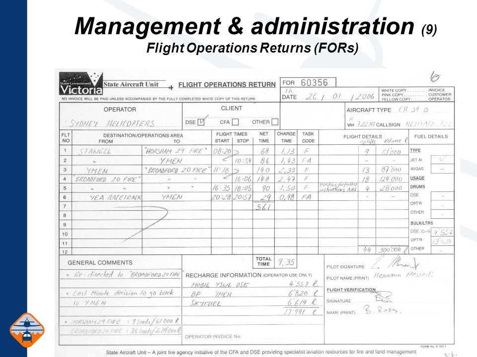 Management & administration (9) Flight Operations Returns (FORs)
