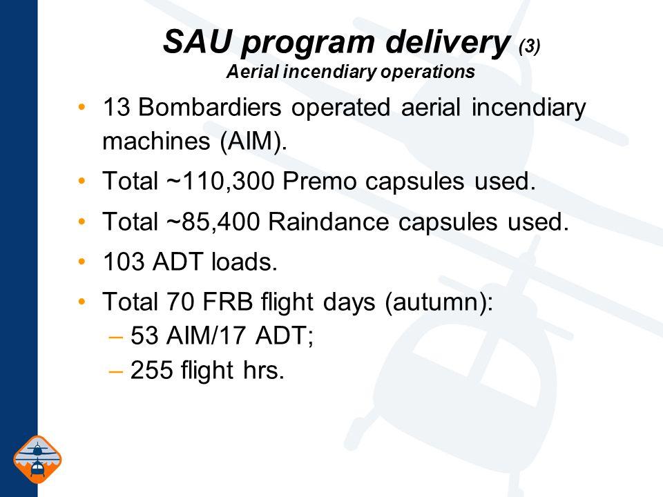 SAU program delivery (3) Aerial incendiary operations 13 Bombardiers operated aerial incendiary machines (AIM).