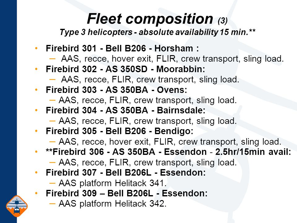 Fleet composition (3) Type 3 helicopters - absolute availability 15 min.** Firebird 301 - Bell B206 - Horsham : – AAS, recce, hover exit, FLIR, crew transport, sling load.