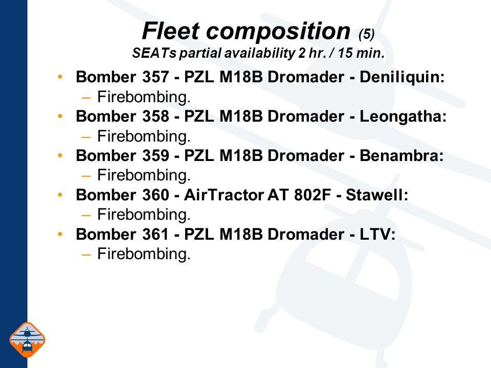 Fleet composition (5) SEATs partial availability 2 hr.