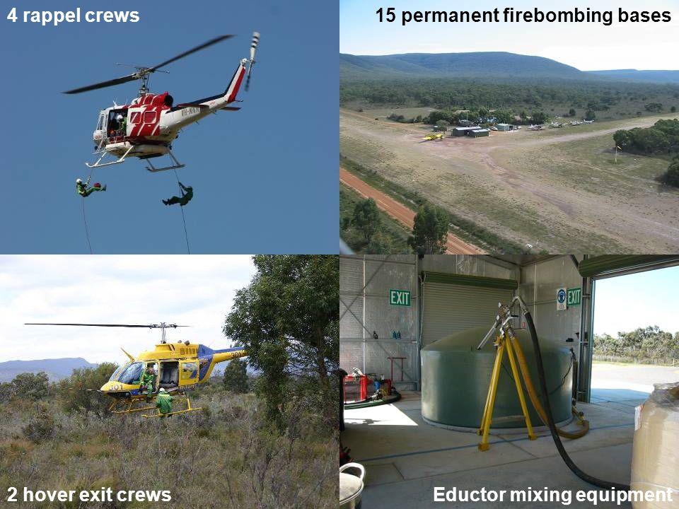 15 permanent firebombing bases4 rappel crews 2 hover exit crewsEductor mixing equipment