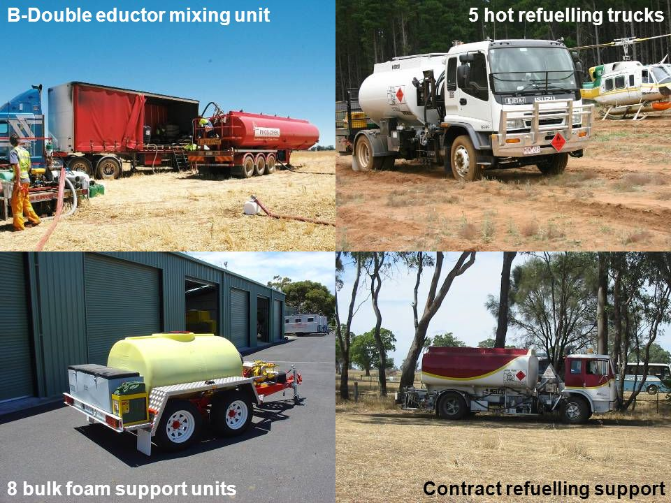 B-Double eductor mixing unit Contract refuelling support 5 hot refuelling trucks 8 bulk foam support units