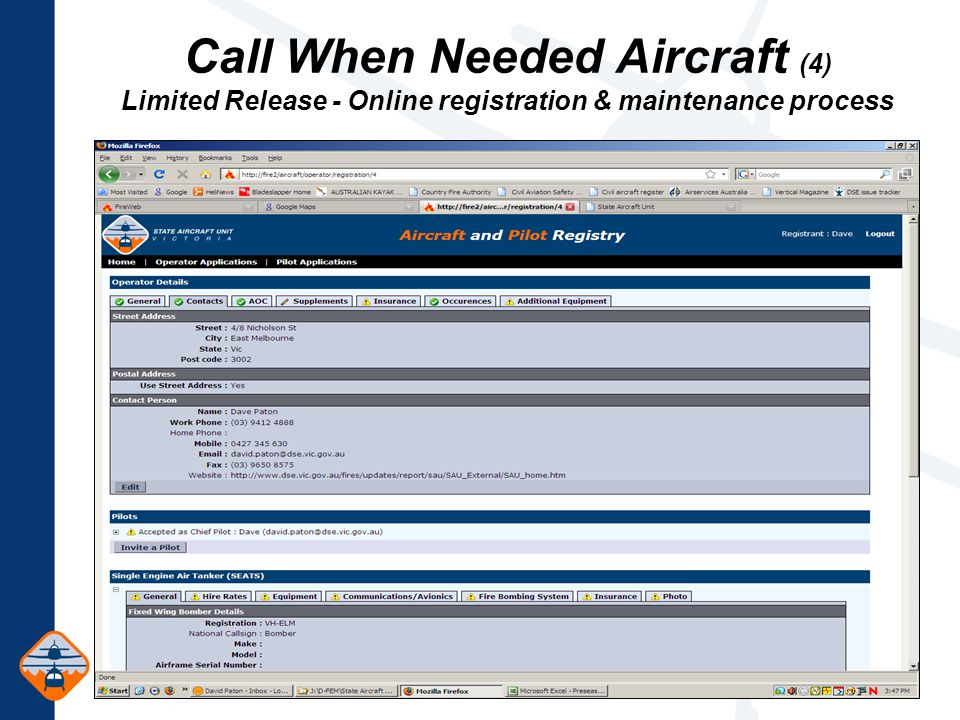 Call When Needed Aircraft (4) Limited Release - Online registration & maintenance process