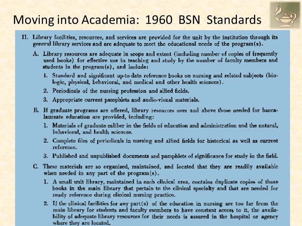 Moving into Academia: 1960 BSN Standards