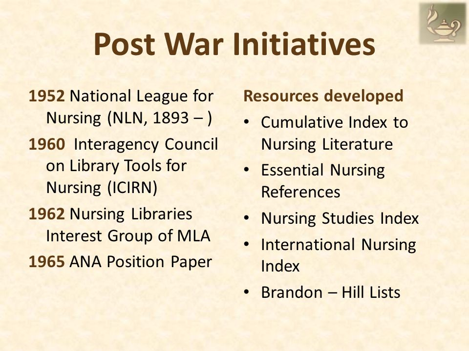Post War Initiatives 1952 National League for Nursing (NLN, 1893 – ) 1960 Interagency Council on Library Tools for Nursing (ICIRN) 1962 Nursing Libraries Interest Group of MLA 1965 ANA Position Paper Resources developed Cumulative Index to Nursing Literature Essential Nursing References Nursing Studies Index International Nursing Index Brandon – Hill Lists