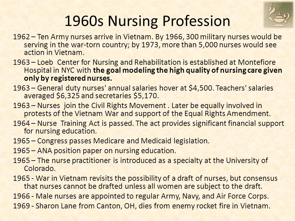 1960s Nursing Profession 1962 – Ten Army nurses arrive in Vietnam.