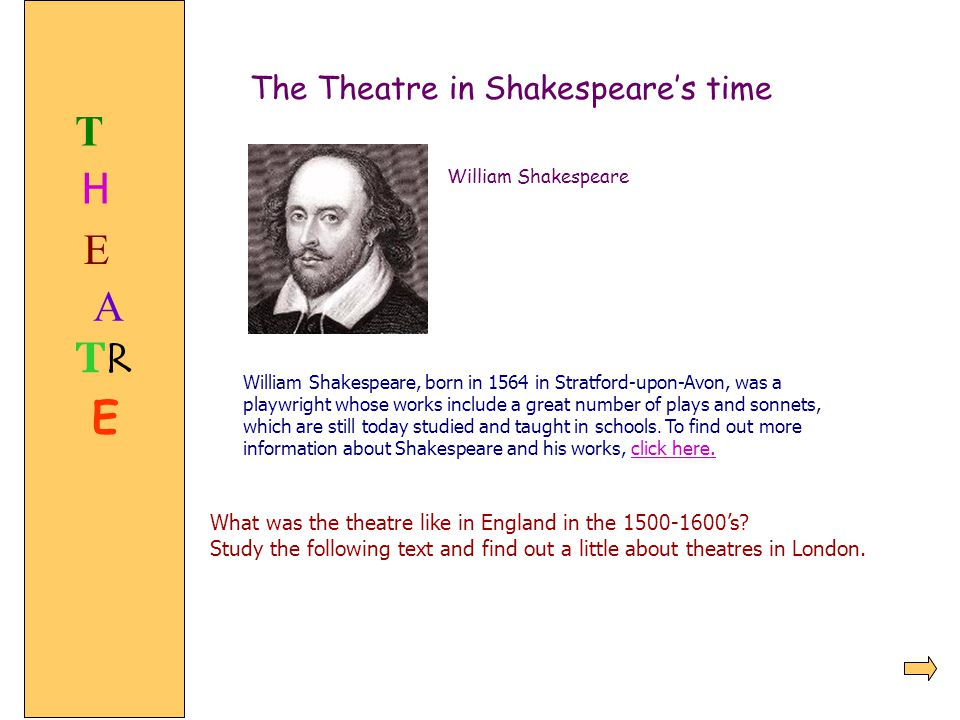 TRTR The Theatre in Shakespeare's time William Shakespeare William Shakespeare, born in 1564 in Stratford-upon-Avon, was a playwright whose works incl
