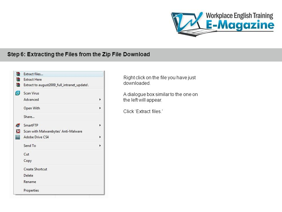 When the new e-magazine issue folder extraction begins, you will see a dialogue box similar to the one on the right.