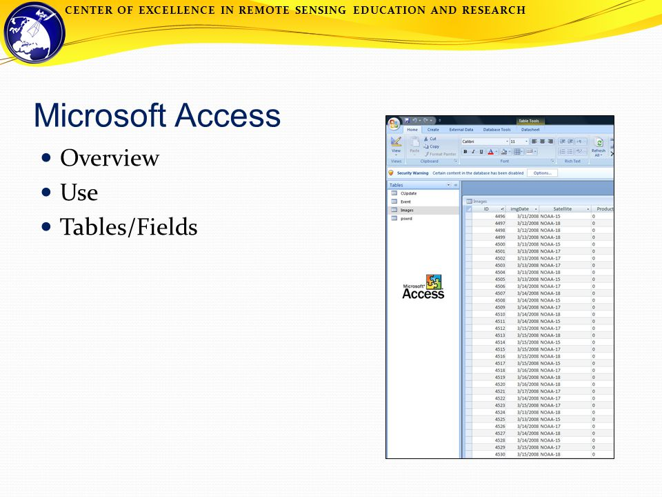 CENTER OF EXCELLENCE IN REMOTE SENSING EDUCATION AND RESEARCH Microsoft Access Overview Use Tables/Fields