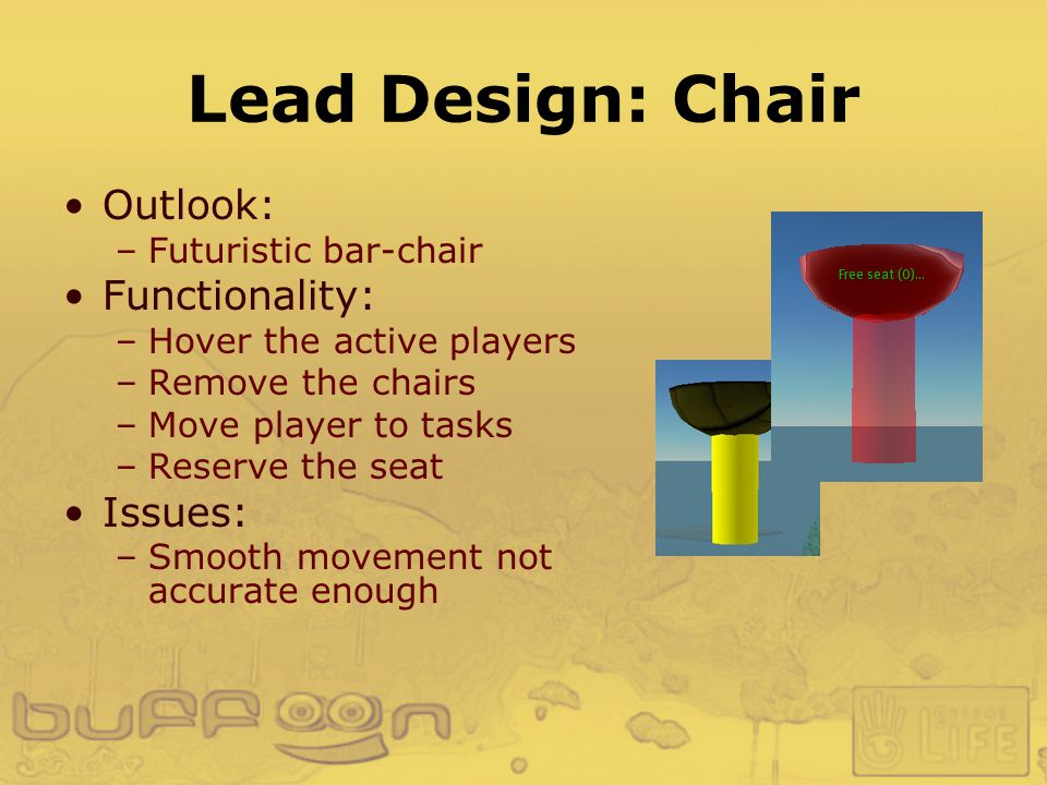Lead Design: Chair Outlook: –Futuristic bar-chair Functionality: –Hover the active players –Remove the chairs –Move player to tasks –Reserve the seat Issues: –Smooth movement not accurate enough