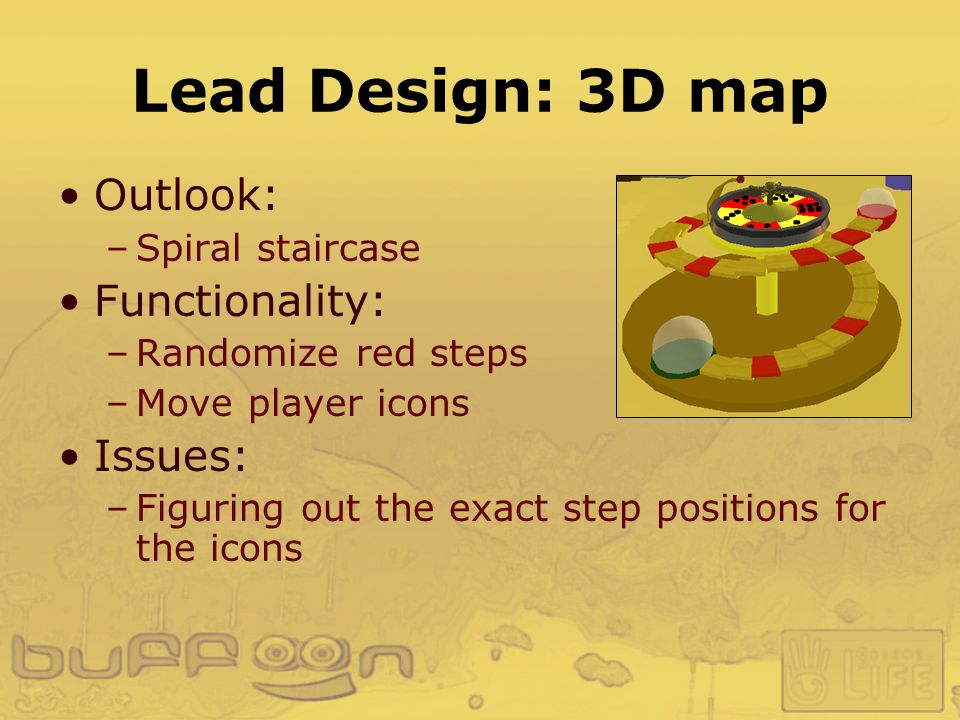 Lead Design: 3D map Outlook: –Spiral staircase Functionality: –Randomize red steps –Move player icons Issues: –Figuring out the exact step positions for the icons