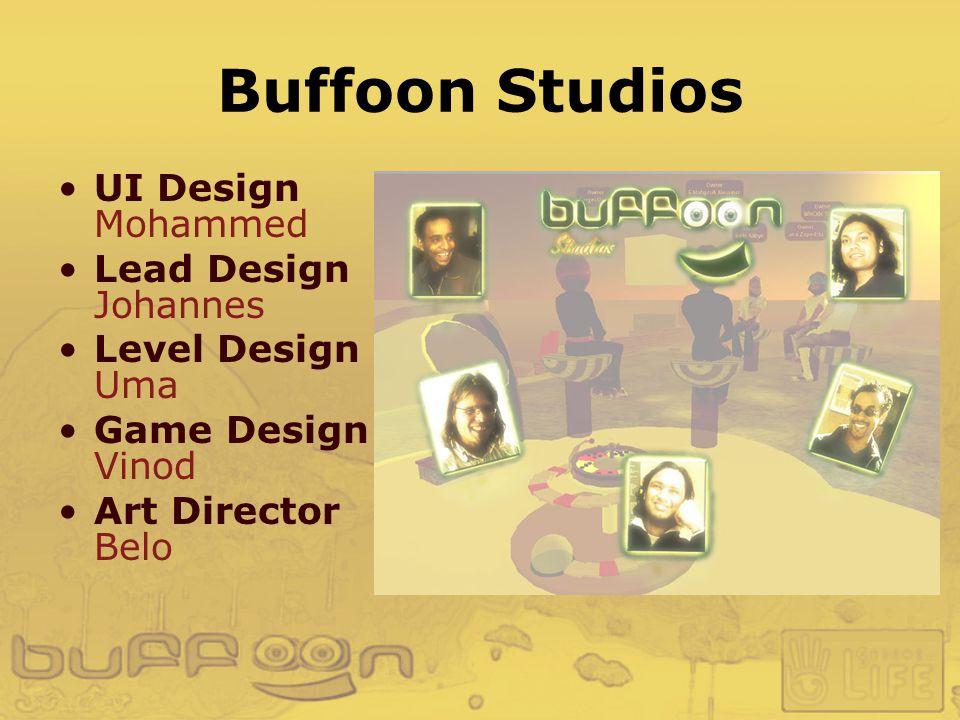 Buffoon Studios UI Design Mohammed Lead Design Johannes Level Design Uma Game Design Vinod Art Director Belo