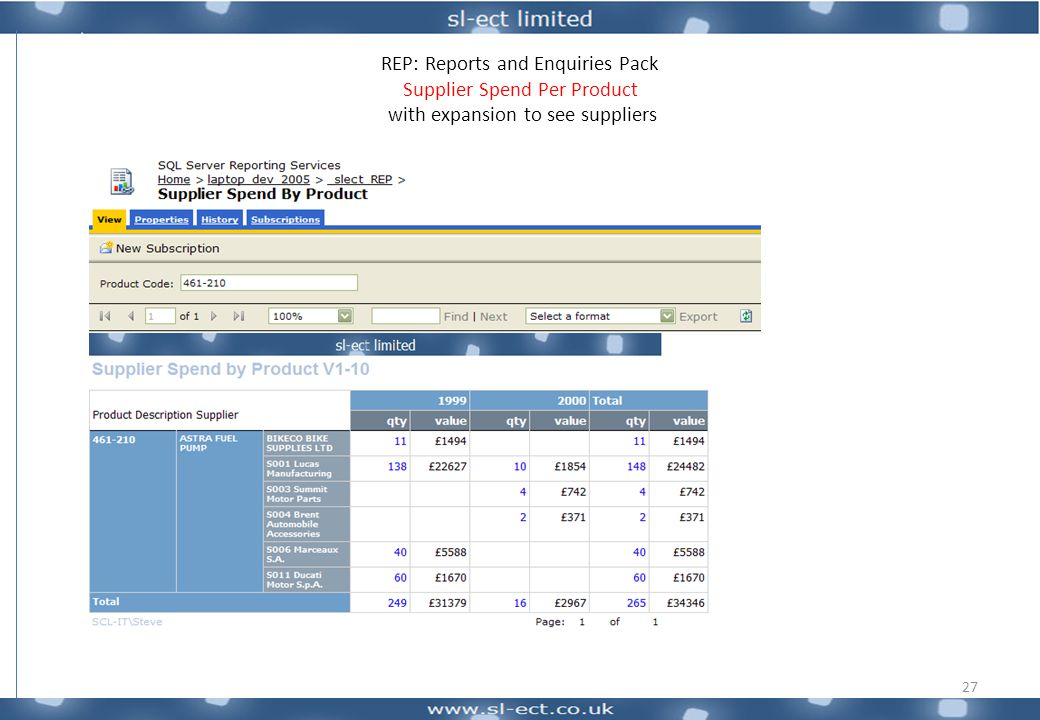 REP: Reports and Enquiries Pack Supplier Spend Per Product with expansion to see suppliers 27