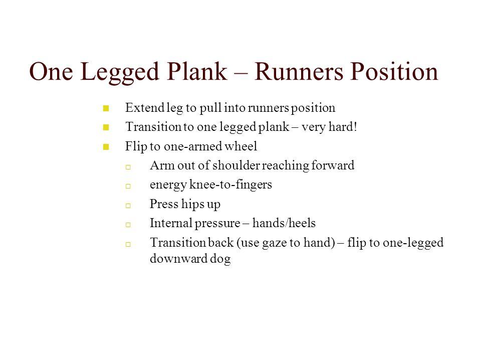 One Legged Plank – Runners Position Extend leg to pull into runners position Transition to one legged plank – very hard.