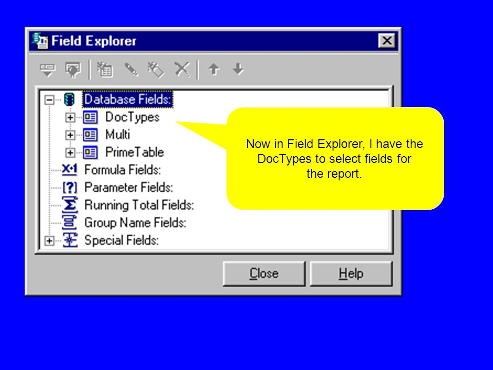 Now in Field Explorer, I have the DocTypes to select fields for the report.
