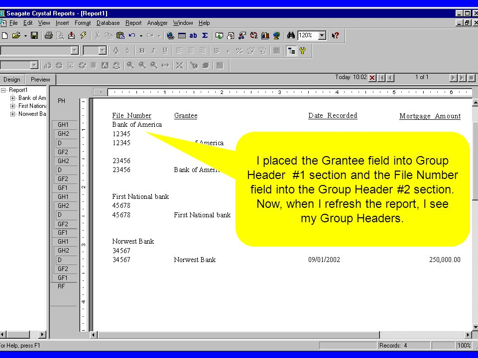 I placed the Grantee field into Group Header #1 section and the File Number field into the Group Header #2 section.
