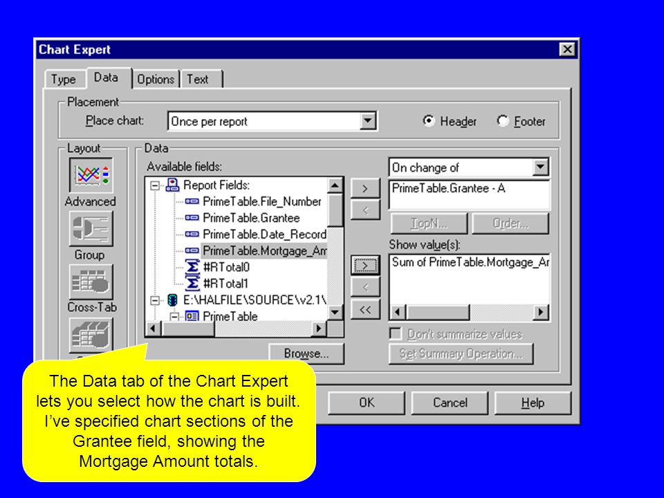 The Data tab of the Chart Expert lets you select how the chart is built.