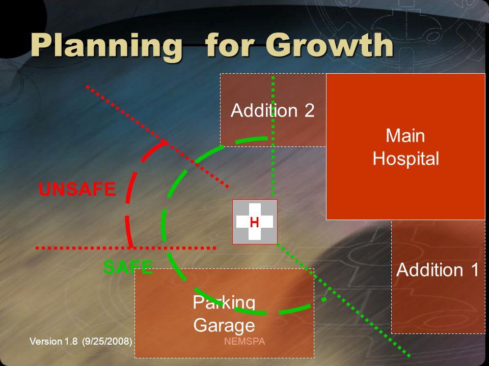 Version 1.8 (9/25/2008)NEMSPA Planning for Growth Main Hospital Parking Garage H Addition 1 Addition 2 SAFE UNSAFE