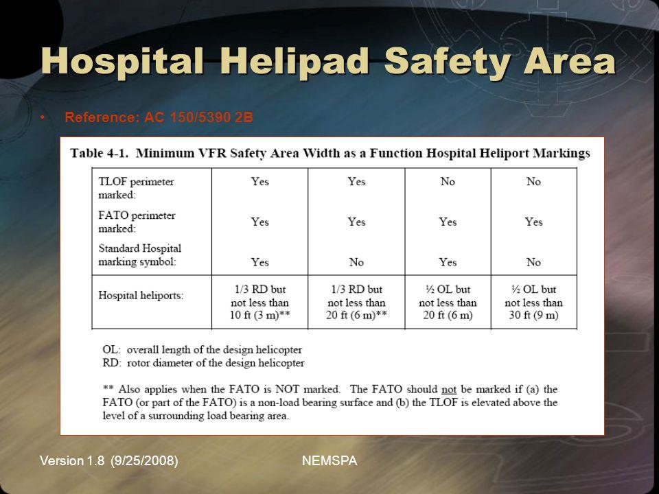 Version 1.8 (9/25/2008)NEMSPA Hospital Helipad Safety Area Reference: AC 150/5390 2B