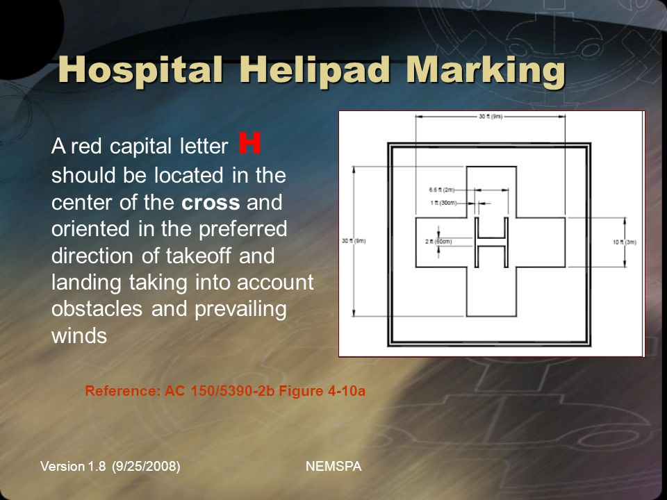 Version 1.8 (9/25/2008)NEMSPA Hospital Helipad Marking Reference: AC 150/5390-2b Figure 4-10a A red capital letter H should be located in the center o