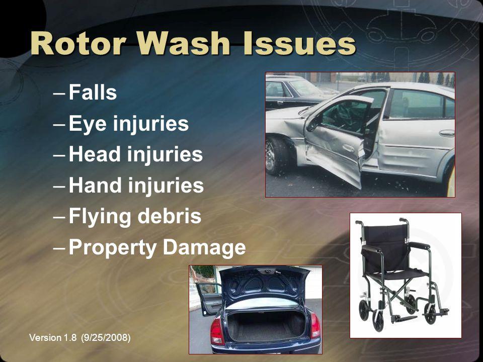 Version 1.8 (9/25/2008)NEMSPA Rotor Wash Issues –Falls –Eye injuries –Head injuries –Hand injuries –Flying debris –Property Damage