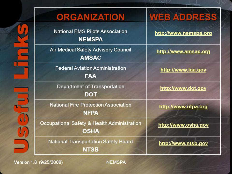 Version 1.8 (9/25/2008)NEMSPA Useful Links ORGANIZATION WEB ADDRESS National EMS Pilots Association NEMSPA http://www.nemspa.org Air Medical Safety Ad