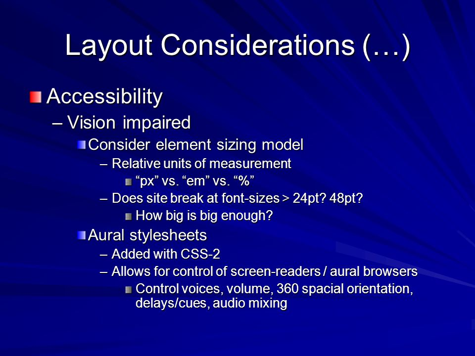 Layout Considerations (…) Control vs.
