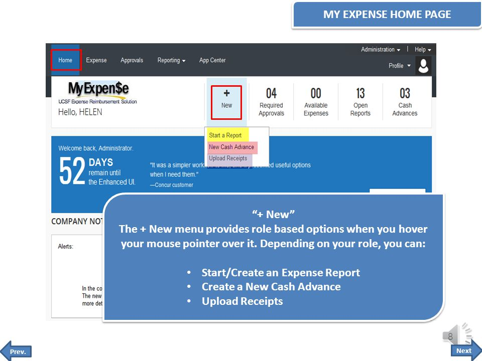 The MyExpense Home Page has a new quick task bar that displays your most important tasks.