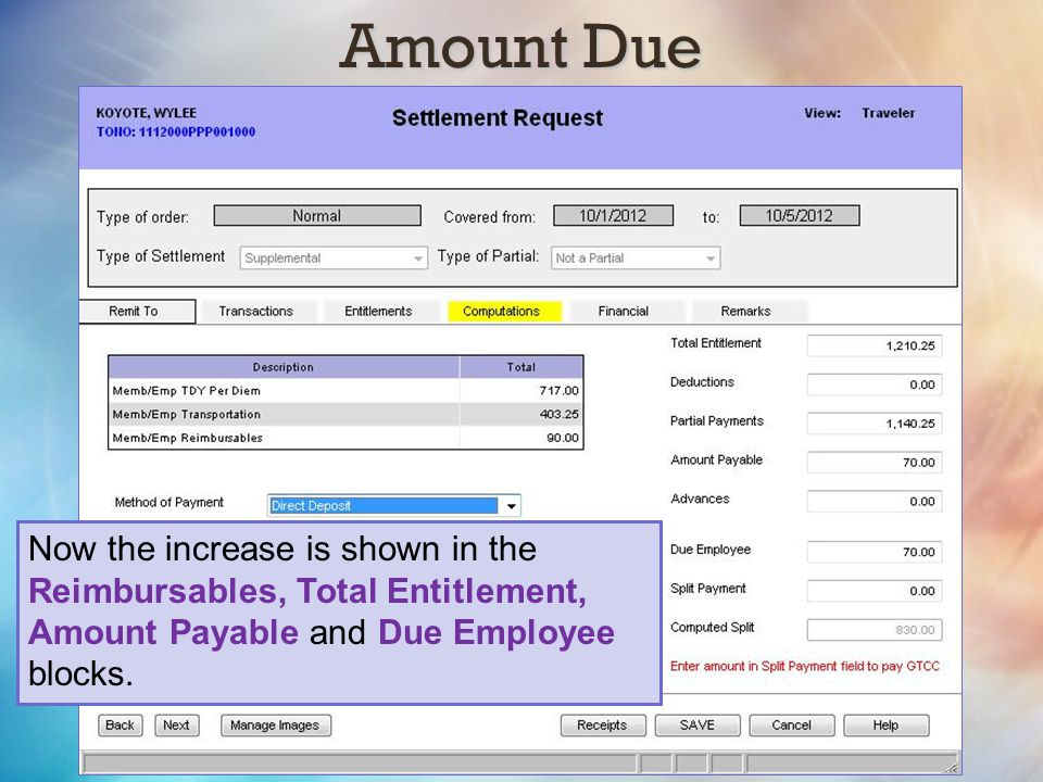 Amount Due Now the increase is shown in the Reimbursables, Total Entitlement, Amount Payable and Due Employee blocks.
