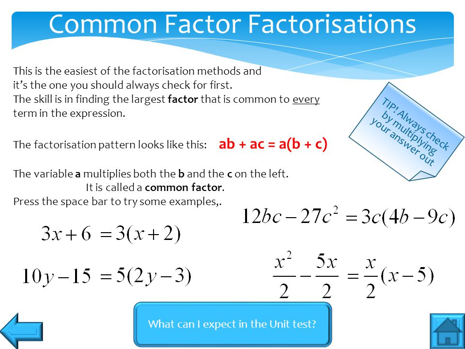 What can I expect in the Unit test? Common Factor Factorisations TIP! Always check by multiplying your answer out This is the easiest of the factorisa