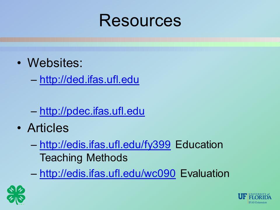 Resources Websites: –http://ded.ifas.ufl.eduhttp://ded.ifas.ufl.edu –http://pdec.ifas.ufl.eduhttp://pdec.ifas.ufl.edu Articles –http://edis.ifas.ufl.edu/fy399 Education Teaching Methodshttp://edis.ifas.ufl.edu/fy399 –http://edis.ifas.ufl.edu/wc090 Evaluationhttp://edis.ifas.ufl.edu/wc090