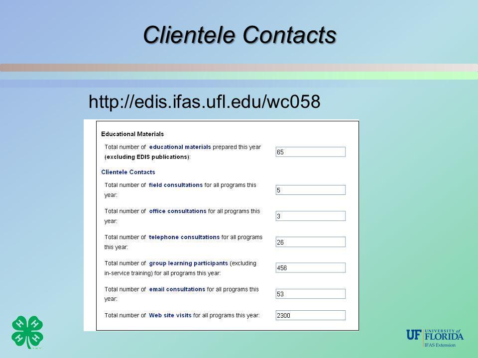 Clientele Contacts http://edis.ifas.ufl.edu/wc058