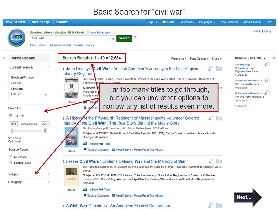 Basic Search for civil war Far too many titles to go through, but you can use other options to narrow any list of results even more.