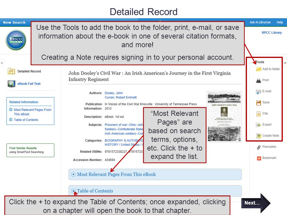 Detailed Record Most Relevant Pages are based on search terms, options, etc.