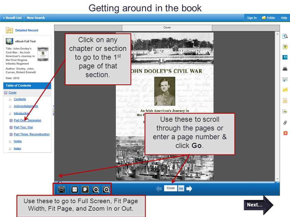 Getting around in the book Next… Click on any chapter or section to go to the 1 st page of that section.