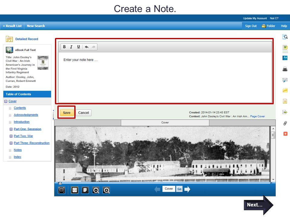 Create a Note. Next…