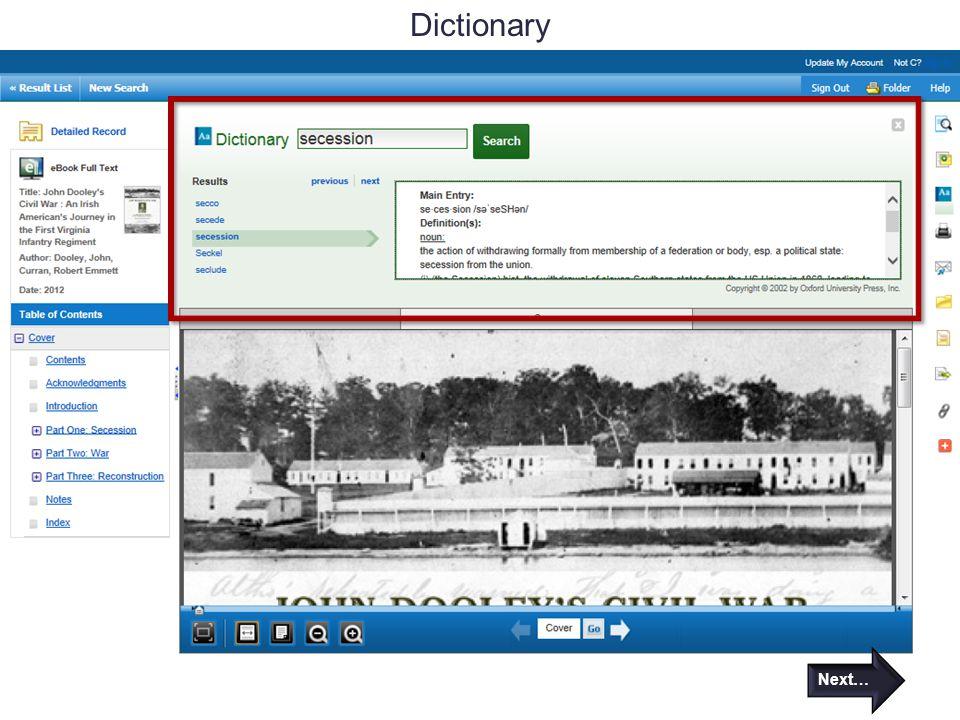 Dictionary Next…