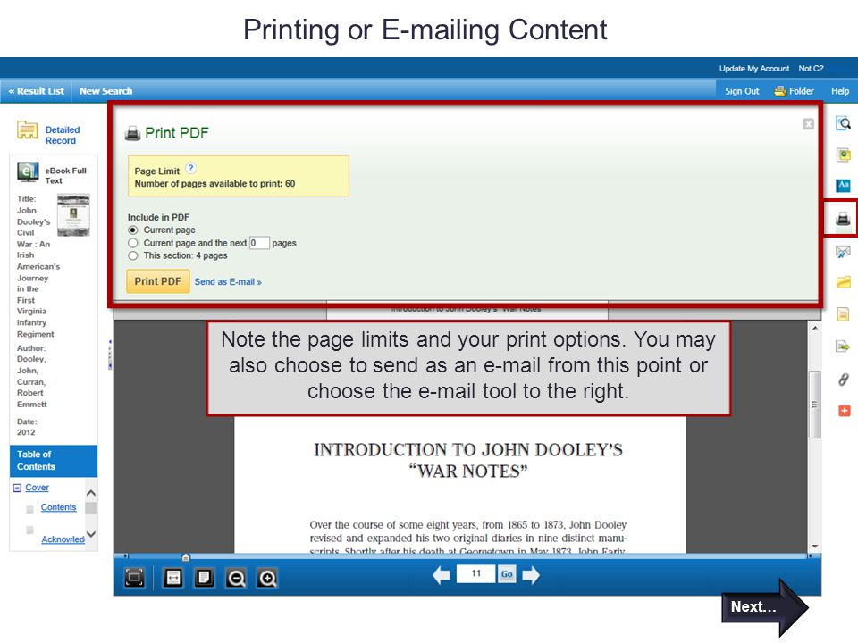 Printing or E-mailing Content Note the page limits and your print options.