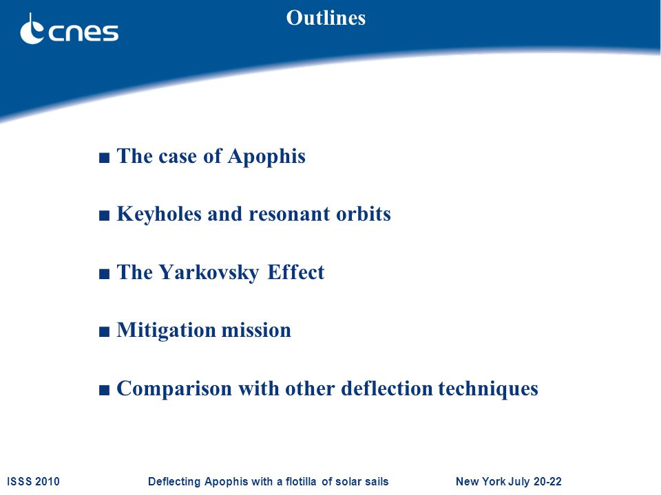 ISSS 2010 Deflecting Apophis with a flotilla of solar sails New York July 20-22 ■ The case of Apophis ■ Keyholes and resonant orbits ■ The Yarkovsky Effect ■ Mitigation mission ■ Comparison with other deflection techniques Outlines