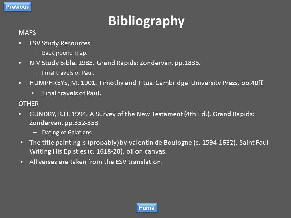 Bibliography TIMELINE CARSON, D.A. & MOO, D.J. 2005. An Introduction to the New Testament. Grand Rapids: Zondervan. pp.361-370, 561-563, 571-572, 578-